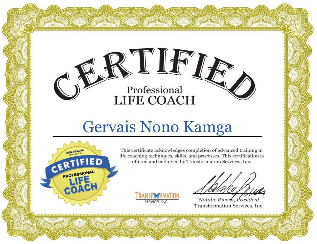 Certification Coaching de vie- Gervais Nono Kamga - ABC Champions